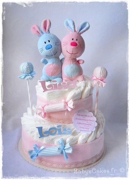 Gâteau De Couches Bio Twins Candy Rabbit Doudou Baby Shower 2