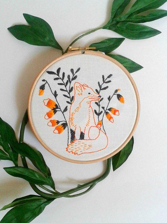 Fox embroidery pattern. PDF pattern. Printable. Woodland animal ...