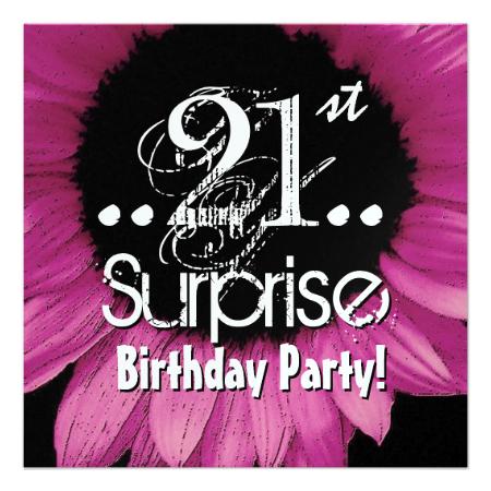 Pink Sunflower 21st Surprise Birthday Metallic Personalized Invite