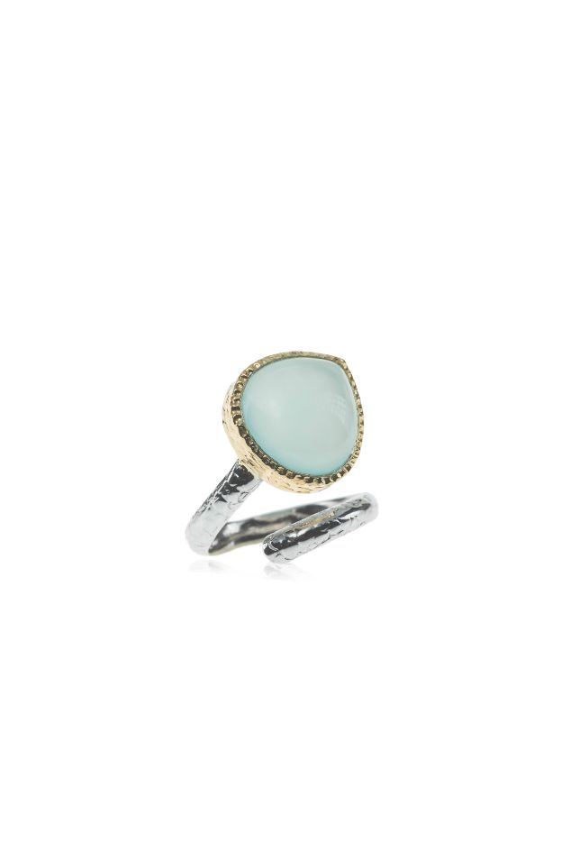Featuring a stunning Aqua Chalcedony stone set in a gold plated bezel with…