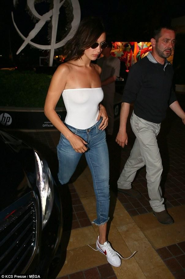 the best attitude a0d41 6744e Bella Hadid wearing Nike Classic Cortez Sneakers, True Religion Halle Jeans  in Gypset Blue and Are You Am I Kimia Bodysuit