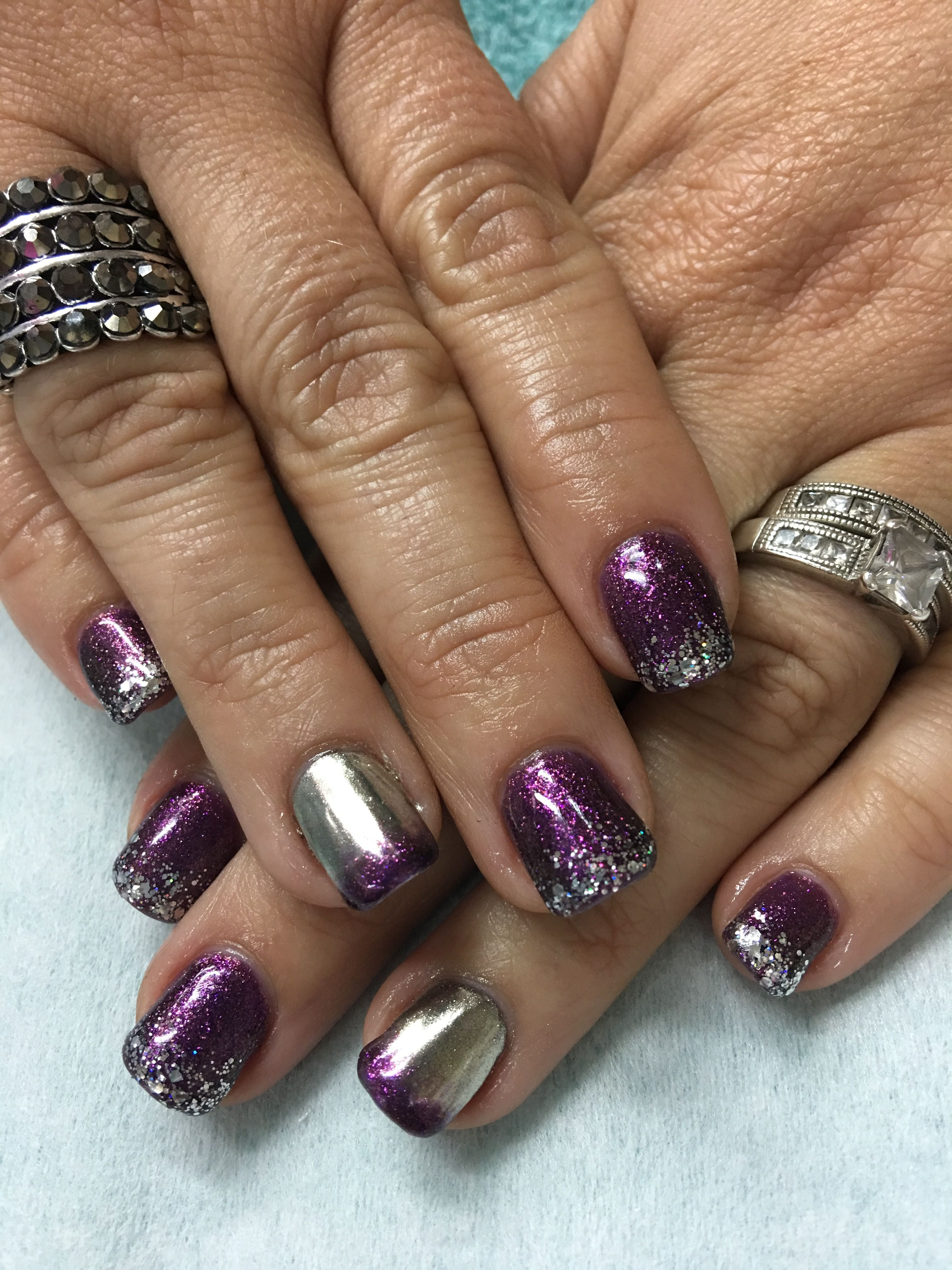 Fall Purple, Big Bling & Silver Chrome gel nails | Silver ...