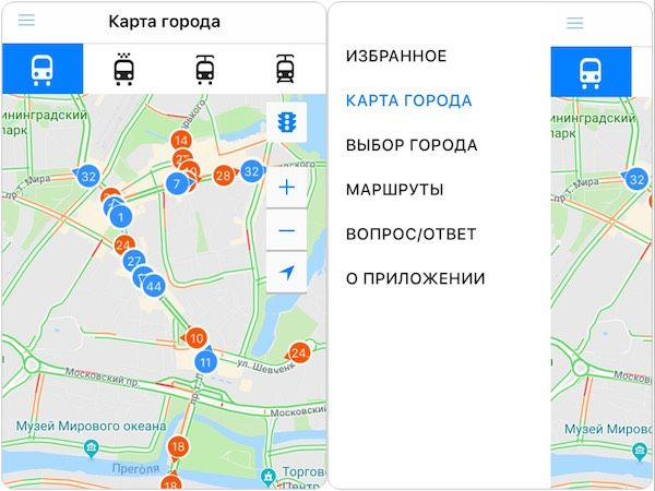 Приложение для смартфона маршрутов городского транспорта