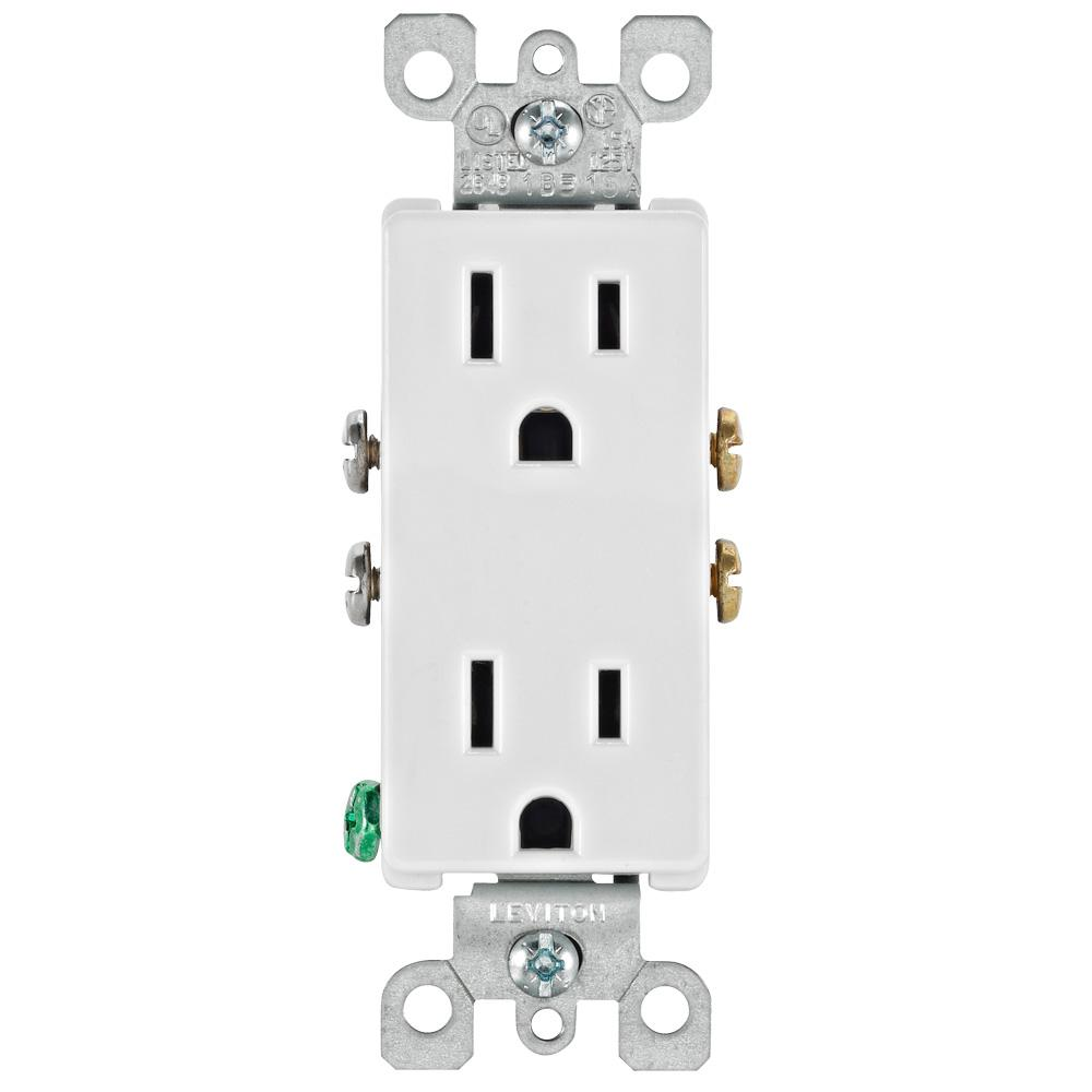 Leviton Decora 15 Amp Residential Grade Self Grounding Duplex Outlet White R52 05325 0ws The Home Depot Leviton Lighting Controls Usb Wall Charger