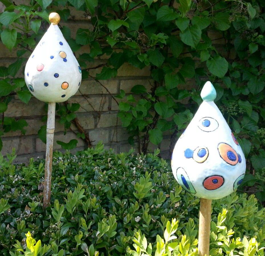 Gartenstecker keramik ton im garten pinterest for Gartentiere deko