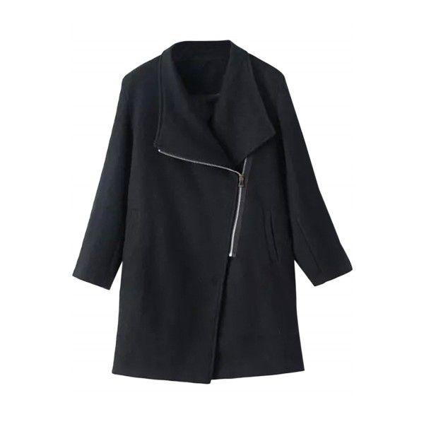 Women's Oblique Zip Closure Woolen Coat (405 SEK) ❤ liked on Polyvore featuring outerwear, coats, black, wool coat, woolen coat, shawl collar wool coat, long sleeve coat and zipper wool coat