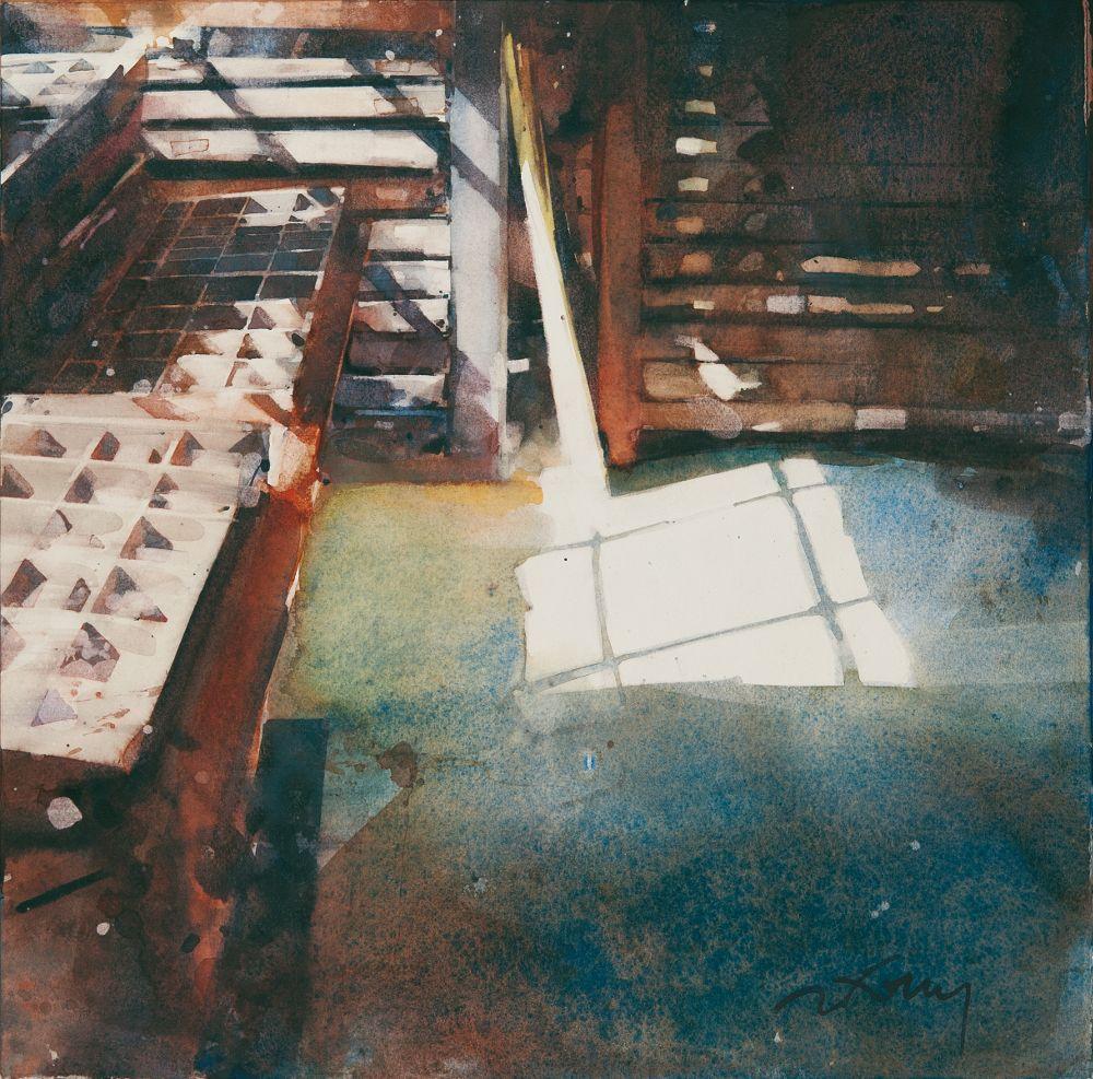Imprimerie Du Moulin De Paille 40x40 Aquarelle