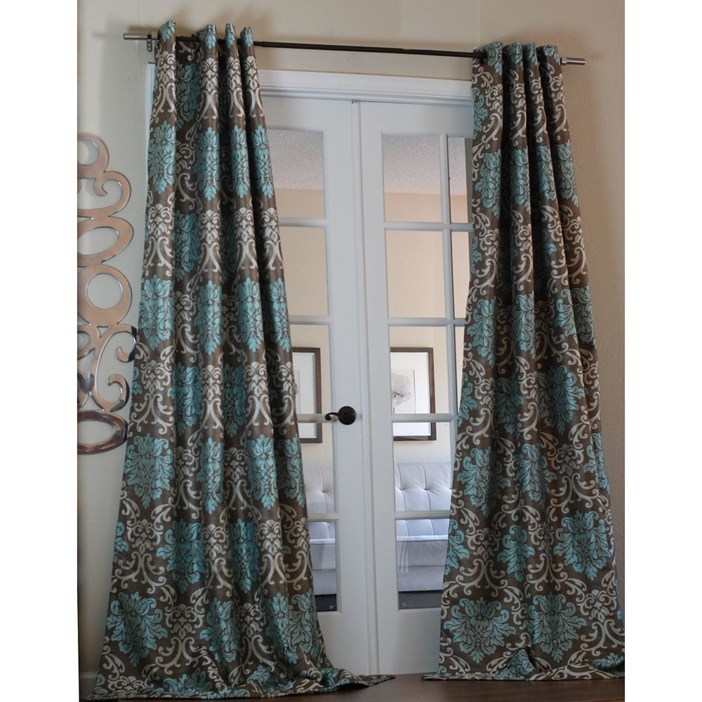 Lambrequin Milan Damask Medallion Smoky/Teal Curtain Panel By Lambrequin