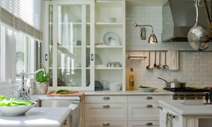 ... light gray honed quartz countertops, subway tiles backsplash and