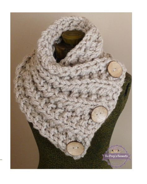 THE LANCASTER SCARF, Chunky Hand Knit Scarf in Neutral Tan with ...