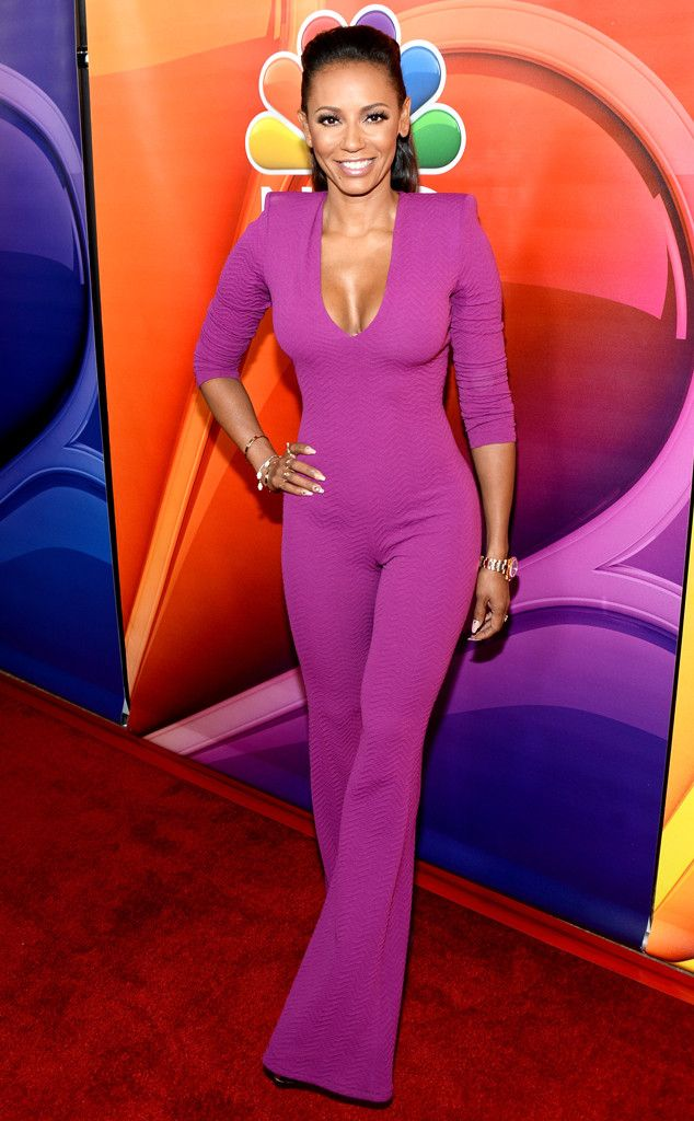 2d369ff04 The America's Got Talent judge rocks a bright purple jumpsuit at the  NBCUniversal press day red carpet event during the 2016 Summer TCA Tour in  Beverly ...