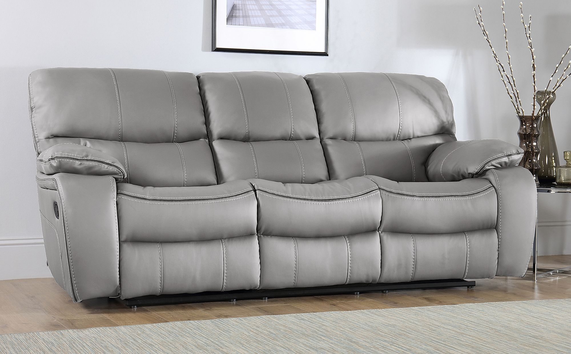 Beaumont Light Grey Leather 3 Seater