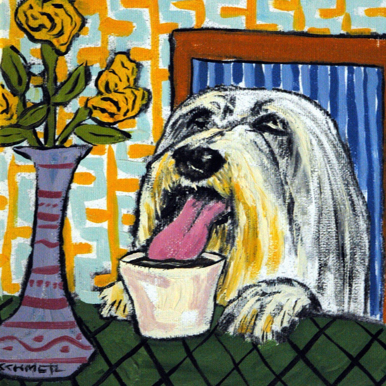 bearded collie at the coffee shop cafe decor dog art tile coaster gift 425 x - Cork Cafe Decor