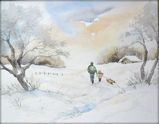 Winterfreuden Aquarell Watercolor 24 X 32 Cm Aquarell