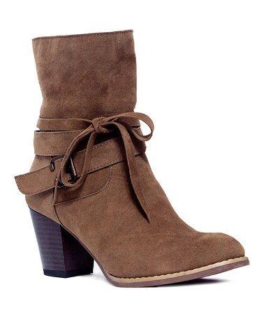 Another great find on #zulily! Dark Camel Robyn Tie Chunky Boot - Women #zulilyfinds