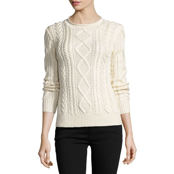 Ralph Lauren Collection Aran-Knit Silk-Cashmere Sweater ($1,290) ❤ liked on  Polyvore featuring tops, sweaters, cream, women's apparel sweaters, roll  neck ...