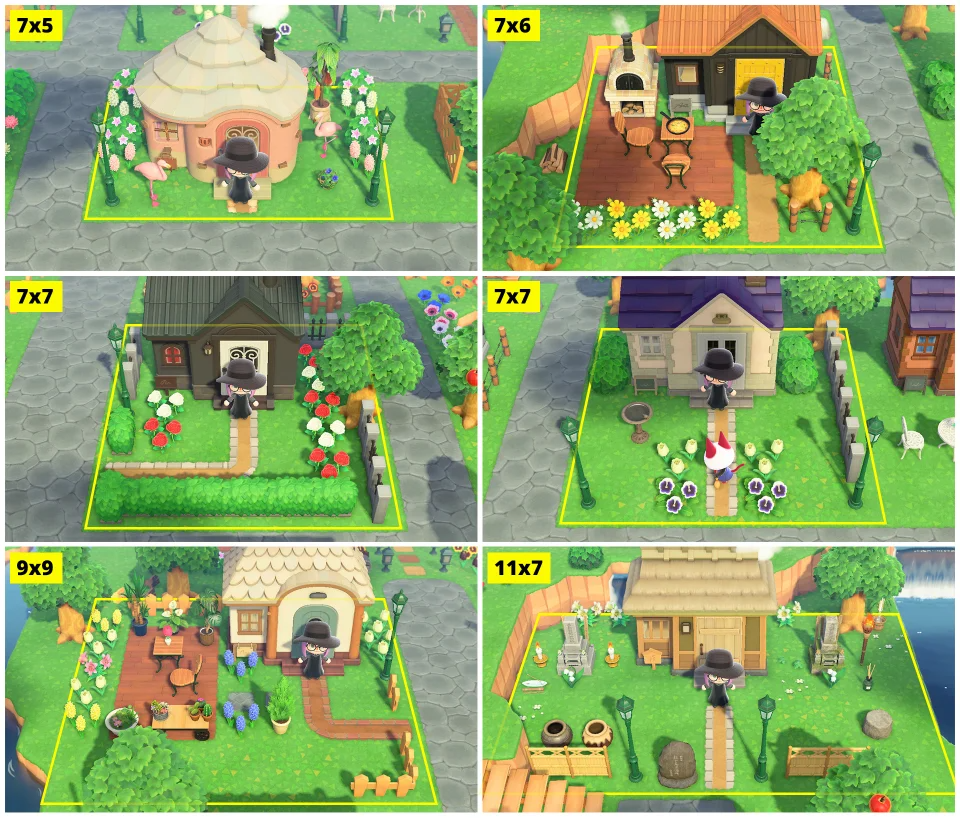 Examples Of Villager S Yards With Plot Sizes Small To Large Animalcrossing Animal Crossing Animal Crossing Villagers Animal Crossing Qr