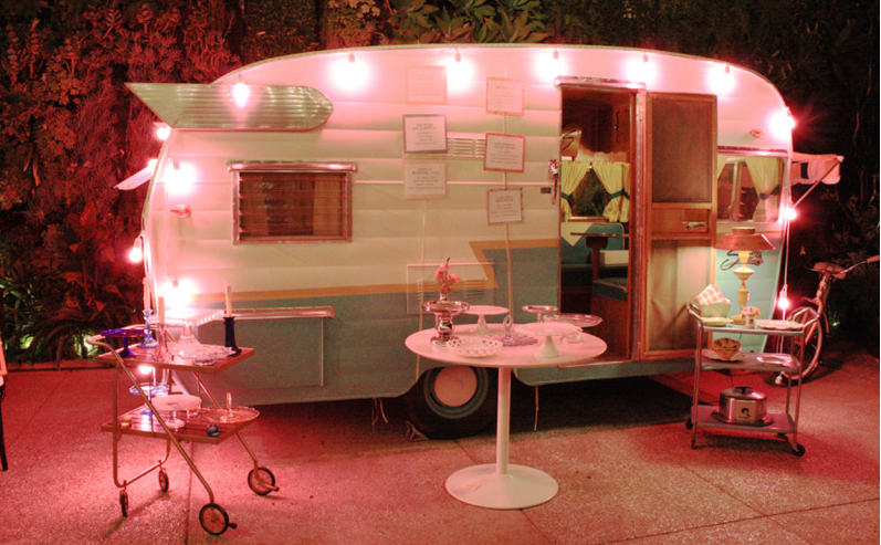 Vintage Shasta Trailer With Pink Lights