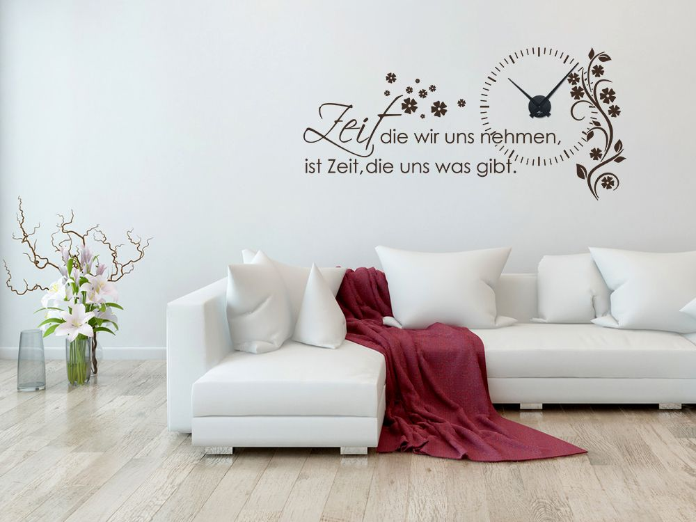 wandtattoo uhr wanduhr mit uhrwerk zitat zeit wohnzimmer blume wanduhren pinterest. Black Bedroom Furniture Sets. Home Design Ideas