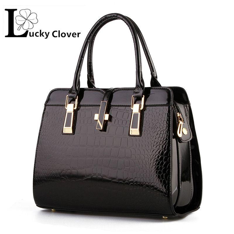 e336e196a16d Famous Brand Luxury Fashion Women patent Crocodile PU Leather ...