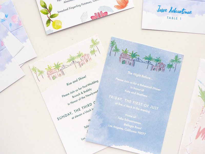 Los Angelos Hollywood Invitations Rsvp Table Cards And Rehearsal Invitation For Kate Gersten Matthew Shire Ilrated By Laura Shema Jolly