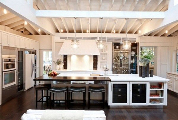 High Ceilings And Large Island Table  Ideal Homes  Pinterest Stunning Kitchen Designs With High Ceilings Design Decoration