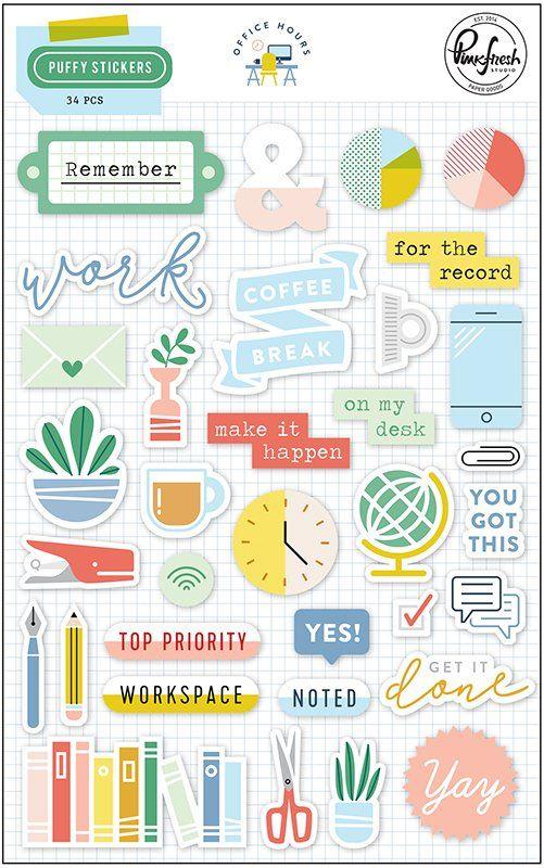 Pinkfresh Studio Office Hours Puffy Stickers