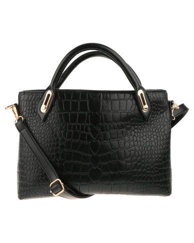 Utopia 3 Pack Croc Embossed Tote Bag Black R479