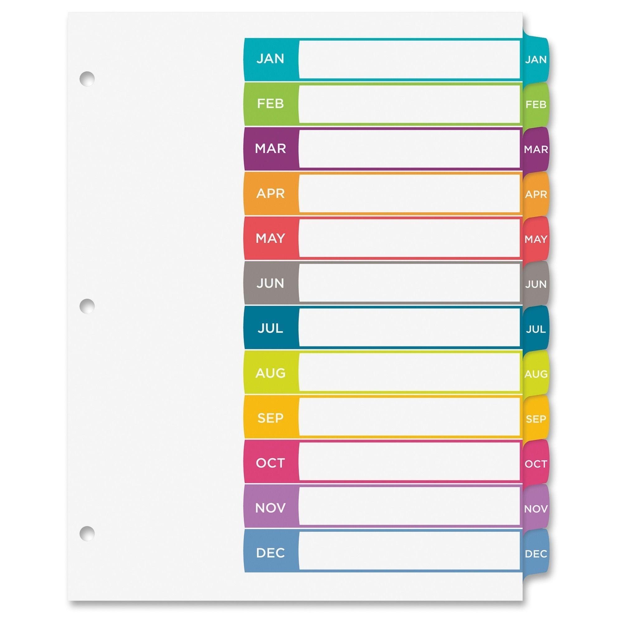 Avery Ready Index Jan Dec Tab Dividers Templates Pinterest