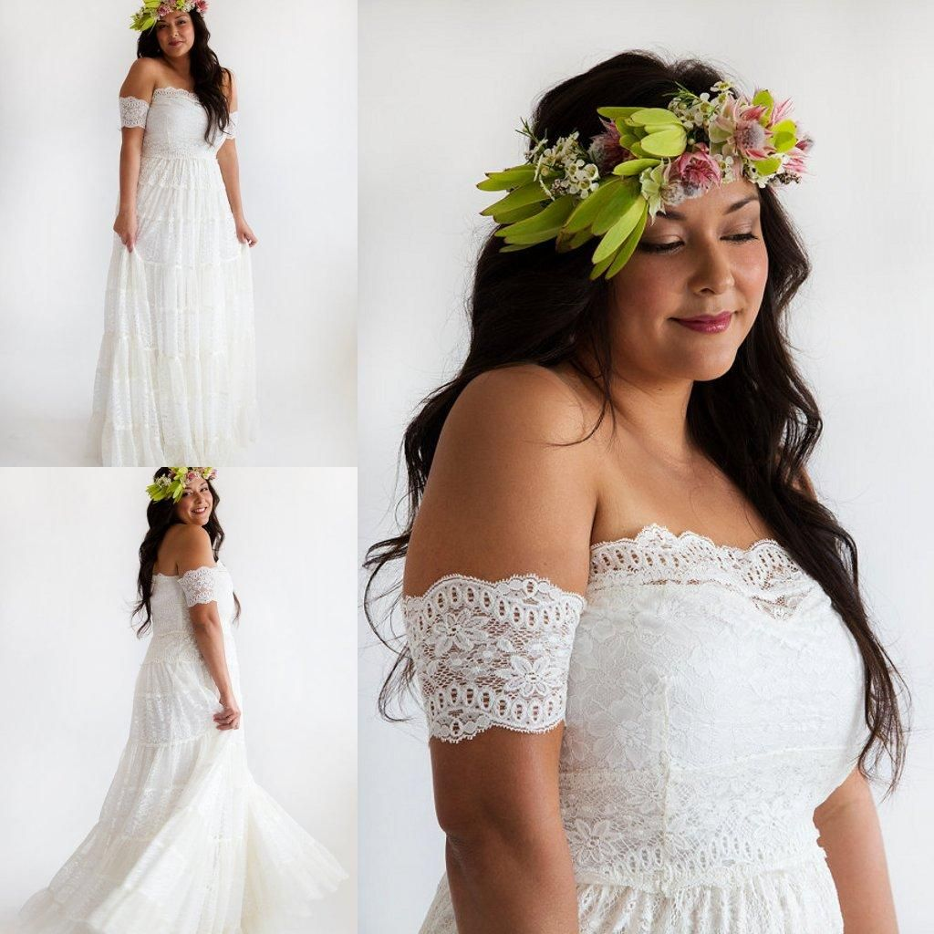 Gypsy Bohemian Lace Wedding Dresses with Arm Bands Hippie Bridal ...