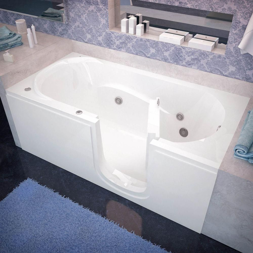 Universal Tubs 5 ft. Right Drain Step-In Whirlpool Bath Tub in White ...