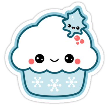 Snowflake Cupcake Sticker In 2019 Carley Cute Stickers Kawaii