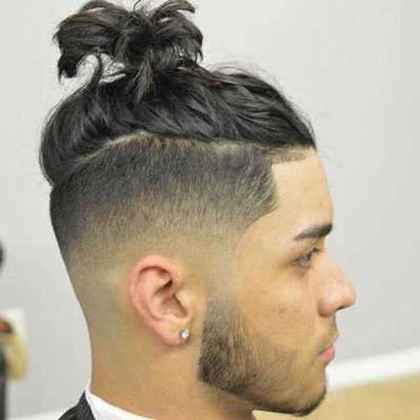 Messy Textured Top Knot Top Knot Hairstyles Long Hair Shaved Sides Boys Haircuts Curly Hair