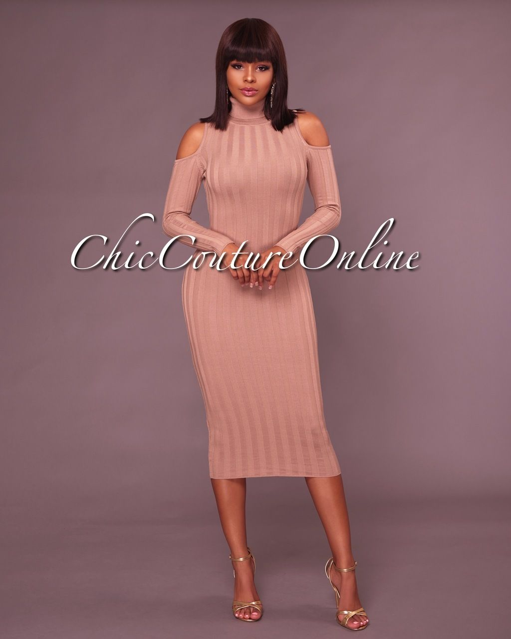 Chic Couture Online - Carol Beige Cut Out Shoulders Ribbed Midi ...