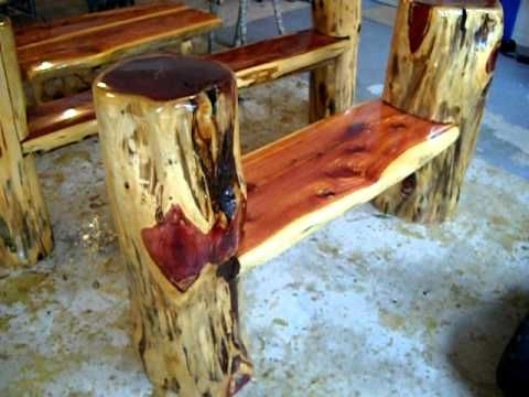 rustic log benches making