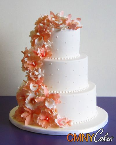 Bridal Shower Cakeini Cakes Peaches And Cream Flowers Wedding Cake Cmny