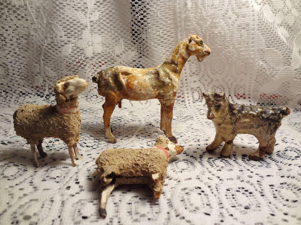 "5"" Antique LOT 4 Stick Leg WOOLY LAMB Sheep GOAT PUTZ NATIVITY GERMANY As Is"