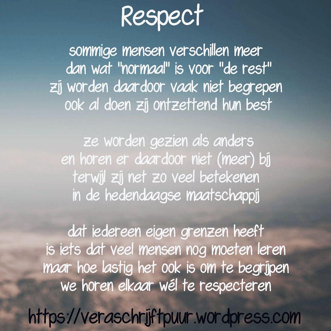 Citaten Over Respect : Respect vera schrijft puur gedichten spreuken quotes