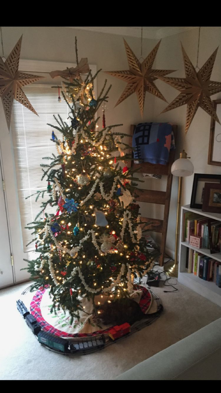 Old fashioned Christmas tree dressed with popcorn and an antique ...