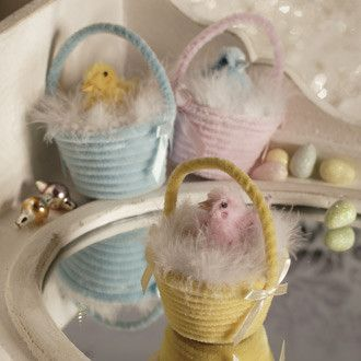 Chenille Easter Basket with Chick