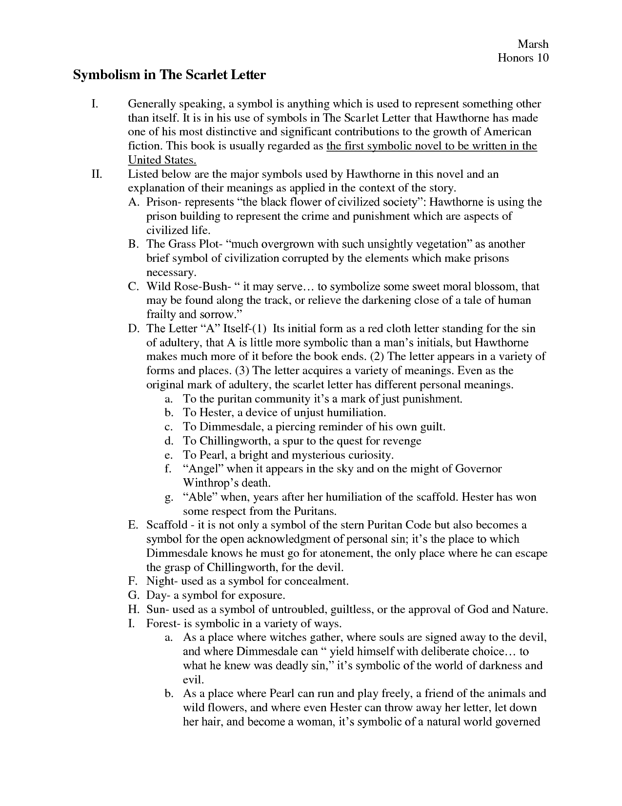 worksheet Teaching Symbolism In Literature Worksheets the scarlet letter symbols chart symbolism in ap literatureteaching