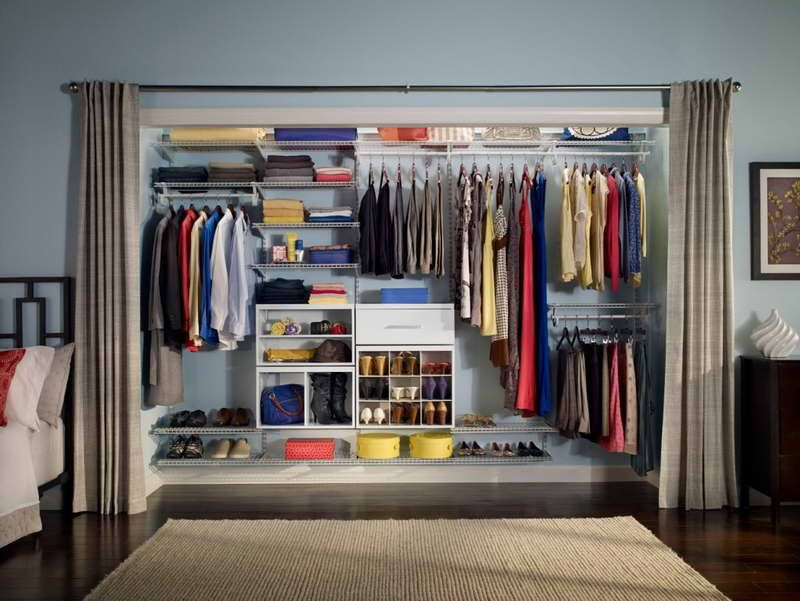 Wardrobe Organization Ideas With Drapery Grey