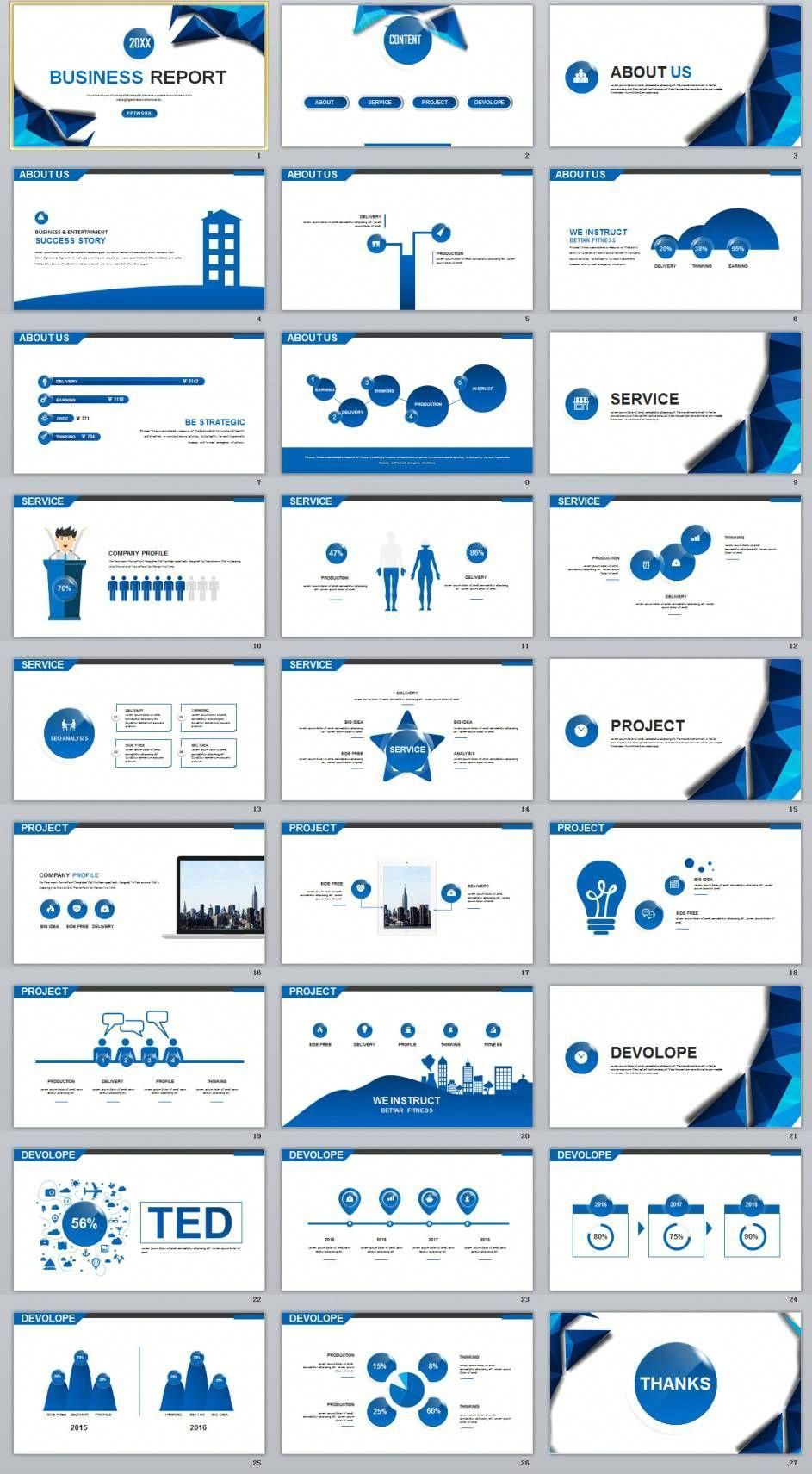 27 blue year chart timeline powerpoint template business infographic templates