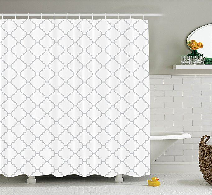 modern grey shower curtain. Gray Shower Curtain Grey Decor By Ambesonne, Simple Monochrome Patterns Geometric Linked Forms On Plain Background Modern Figures Print, Polyester Fabric