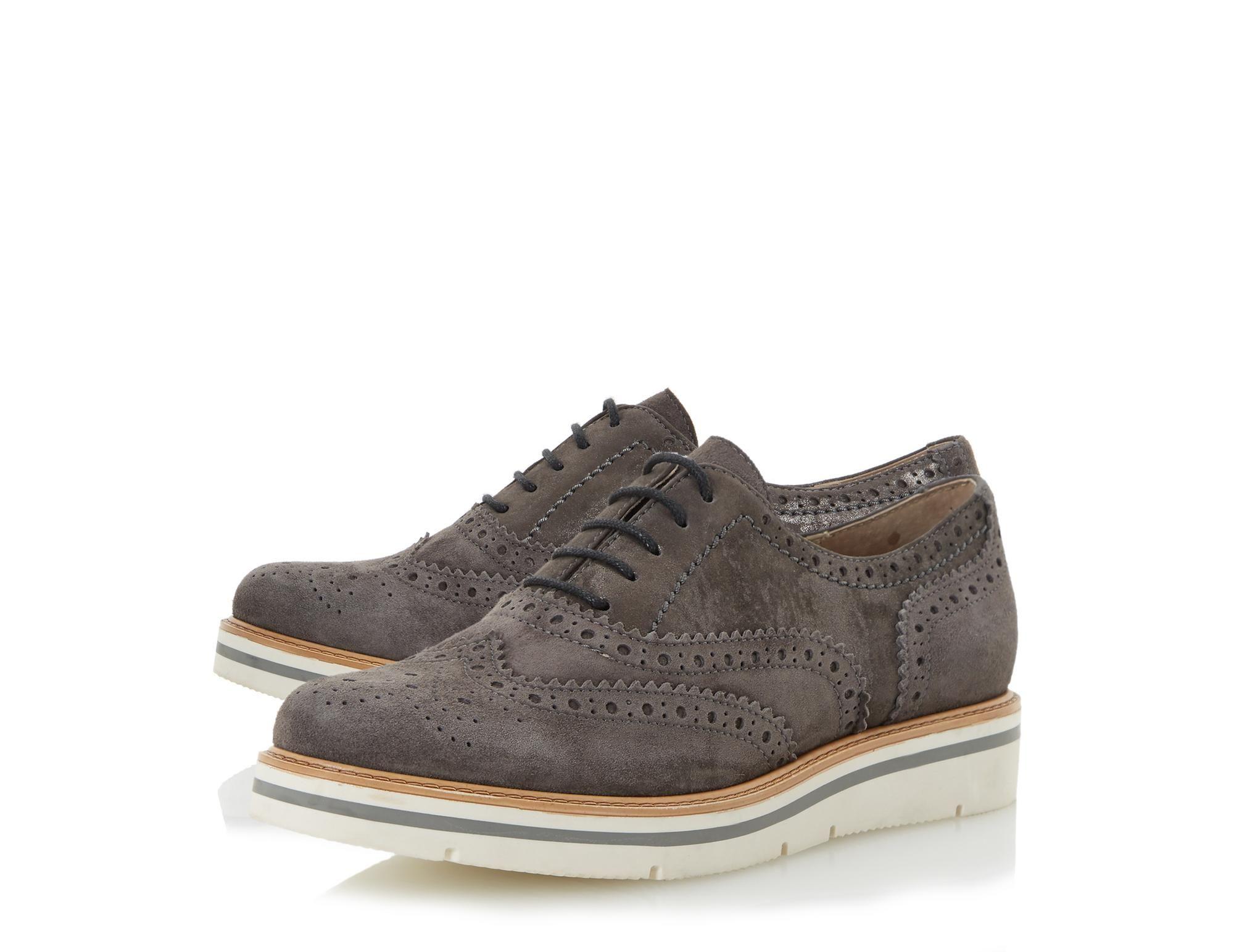 Suede Flatform Brogue Shoe - grey