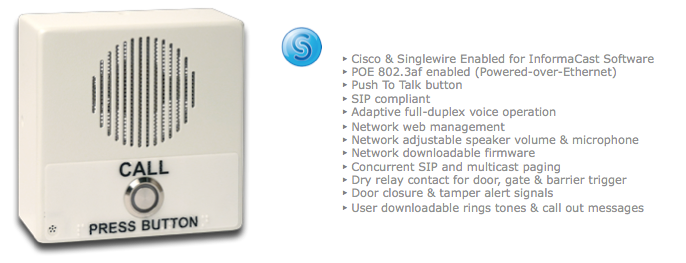 The Cyberdata 011305 For Cisco Voip Door Entry Ip Speakers Sip