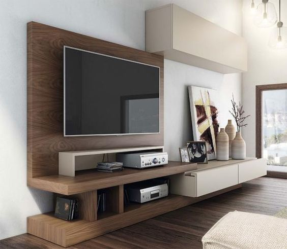 Contemporary And Stylish Tv Unit And Wall Cabinet Composition In