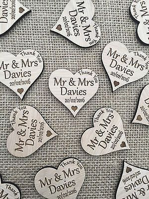 Personalised Wedding Favours Thank You Fridge Magnets Wood Oak Engraved Personalized