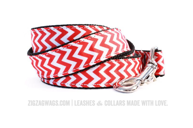 "The Fire Hydrant Red Signature Leash is available in two widths – 1"" for larger dogs, and 3/8"" for small and toy breeds. Both versions are 6' long, and feature a looped handle and a heavy-duty nickel-plated swivel clip for secure leash attachment."