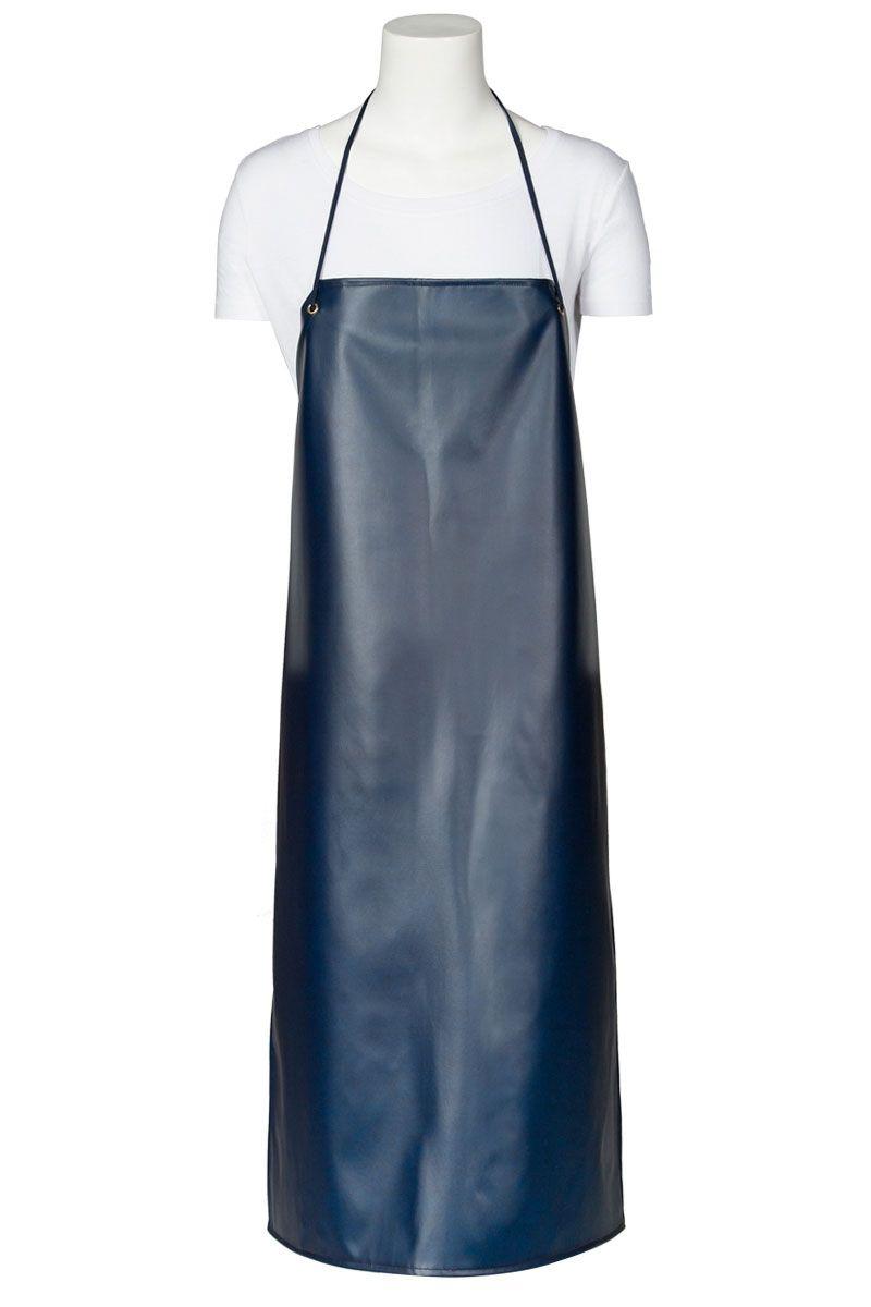 01b1b8bdb35 El delantal plastificado de Artel color azul, dispone de unos ojetes  dorados. #delantal #plastico #azul #marino